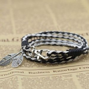 Leather Wrap Braided Wristband Bracelet Bangle